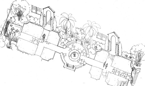 Francisco Palms Courtyard (artist's drawing)