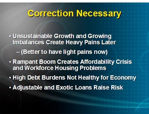 (NAR) Real Estate Reality Check Presentation: Correction Necessary