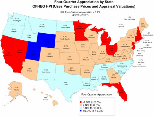 SocketSite OFHEO US House Prices Dont Fall But Do In CA - House pricing in us map