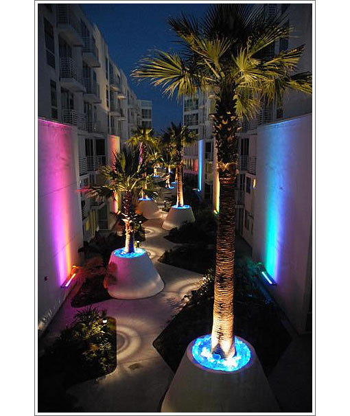 The Palms (555 4th Street): Courtyard at Night