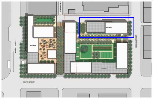 Trinity Place Site Plan: Phase I in Blue