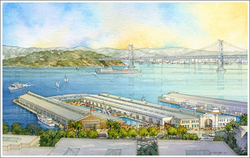 Piers 15-17 (Watercolor rendering by Al Forster)
