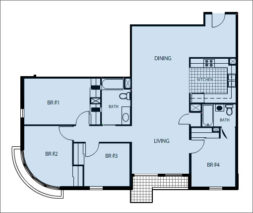 2200 Mission Four Bedroom Floor Plan