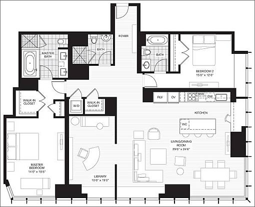 301 Mission Street #40D: Floor Plan