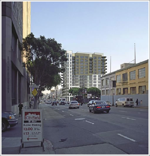 1415 Mission Street Rendering: Looking South Down 10th
