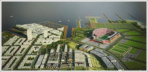 Candlestick/Hunters Point Rendering: Proposed 49ers Stadium