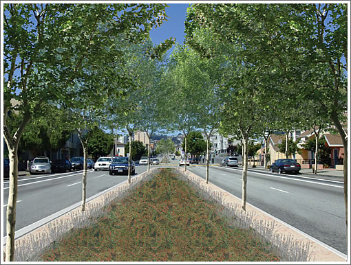 Cesar Chavez Street with rendered 14-foot median
