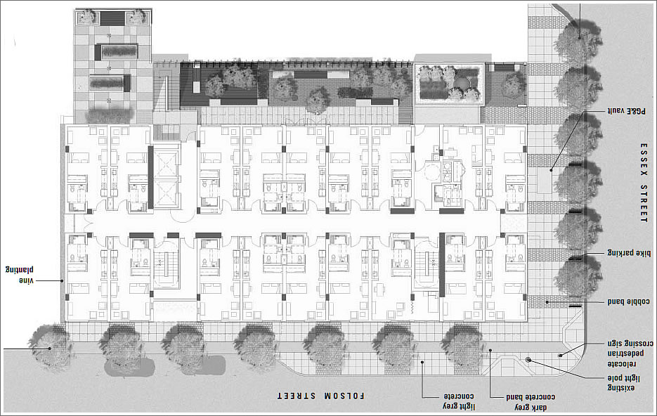 SocketSite™   Transbay Block A  Folsom   Essex  Plans And    Solar panels will adorn the roof while vines will adorn the first floor of the eastern façade  ∙ Block a Supportive Housing Plans for Your Review