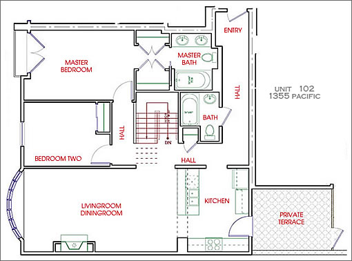 1355 Pacific #102 Floor Plan