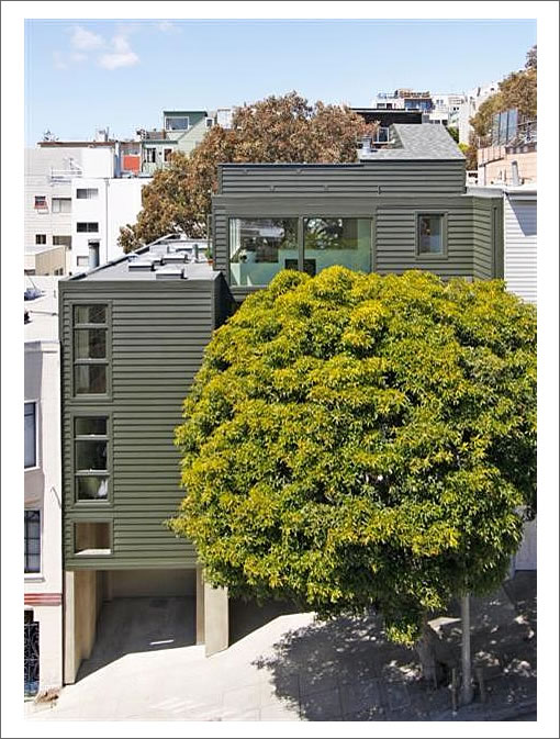 """Telegraph Hill Tree House""  At 468 Filbert Sprouts A For Sale Sign"