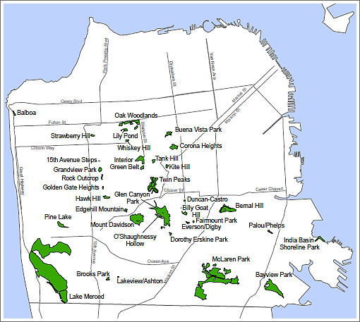 San Francisco Natural Resource Areas Map