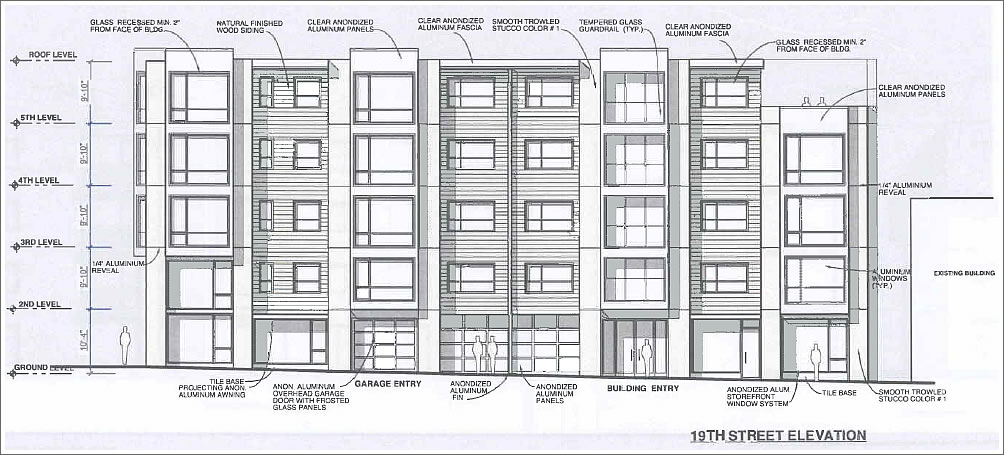 An approximately 11 foot wide garage opening would be located on 19th  Street to provide ingress and egress to the residential parking. SocketSite    Resurrected Plans For The Corner Of 19th And South