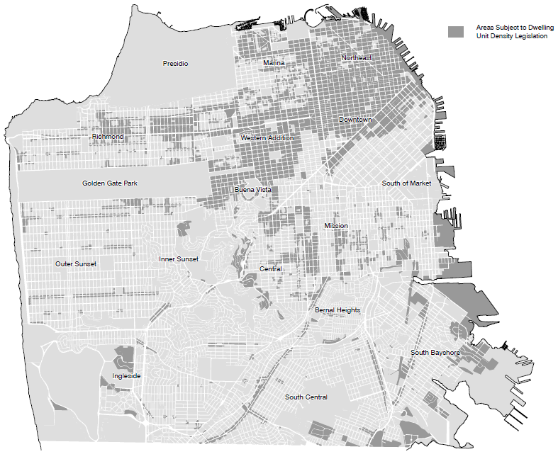 Dwelling Unit Density Bonus Map