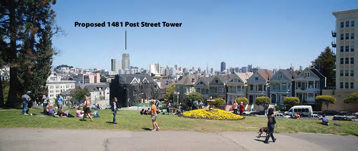 Proposed 1481 Post Street Tower from Alamo Square
