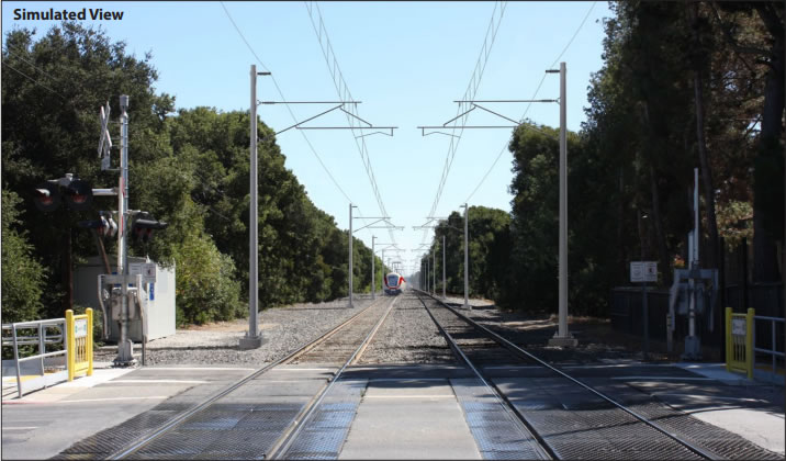Caltrain Tracks Simulated View Post-Electrification