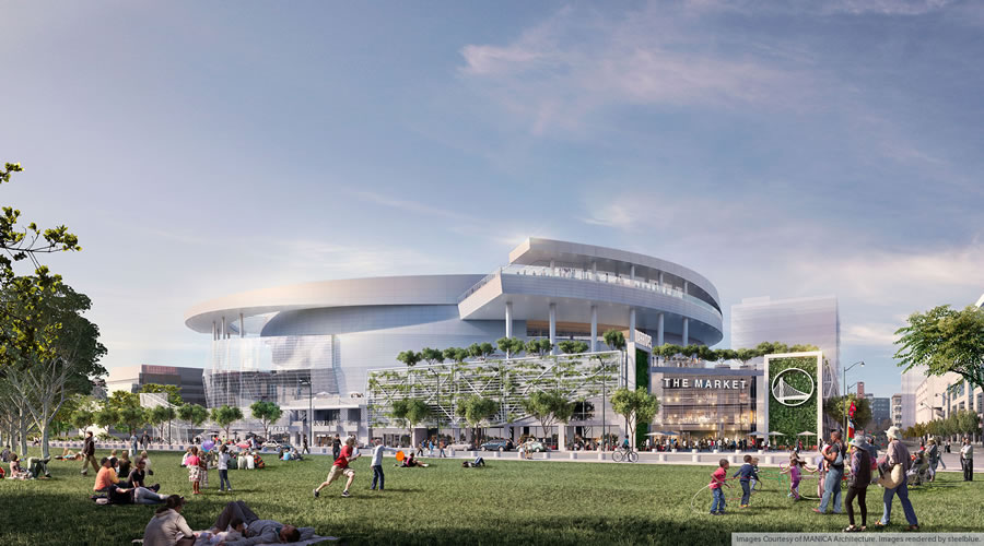 Warriors Mission Bay Arena Rendering - Bayfront Park View