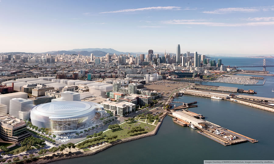 Warriors Mission Bay Arena Rendering - Southwest Aerial