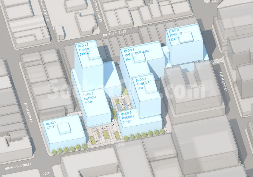 Scoop: Plans For Three Towers Up To 250-Feet On Flower Mart Site