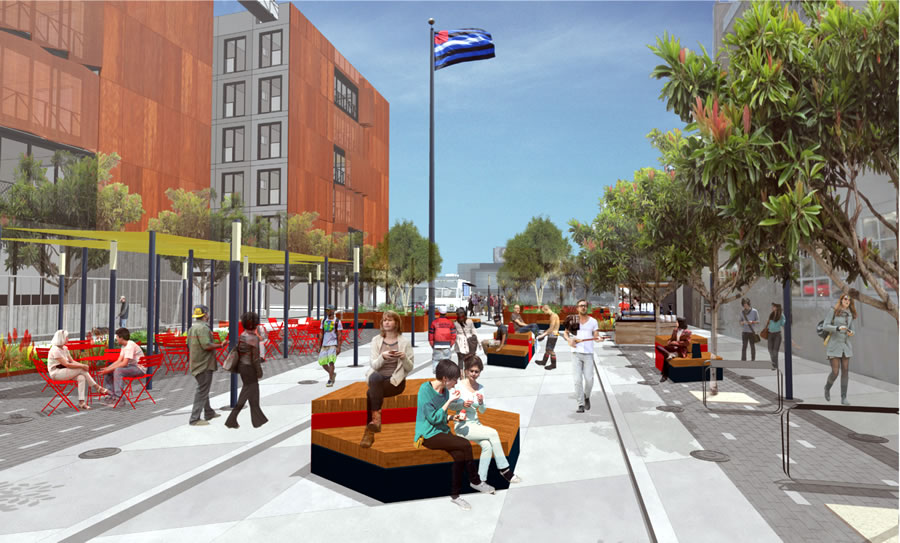 Eagle Plaza Rendering: Street Closed