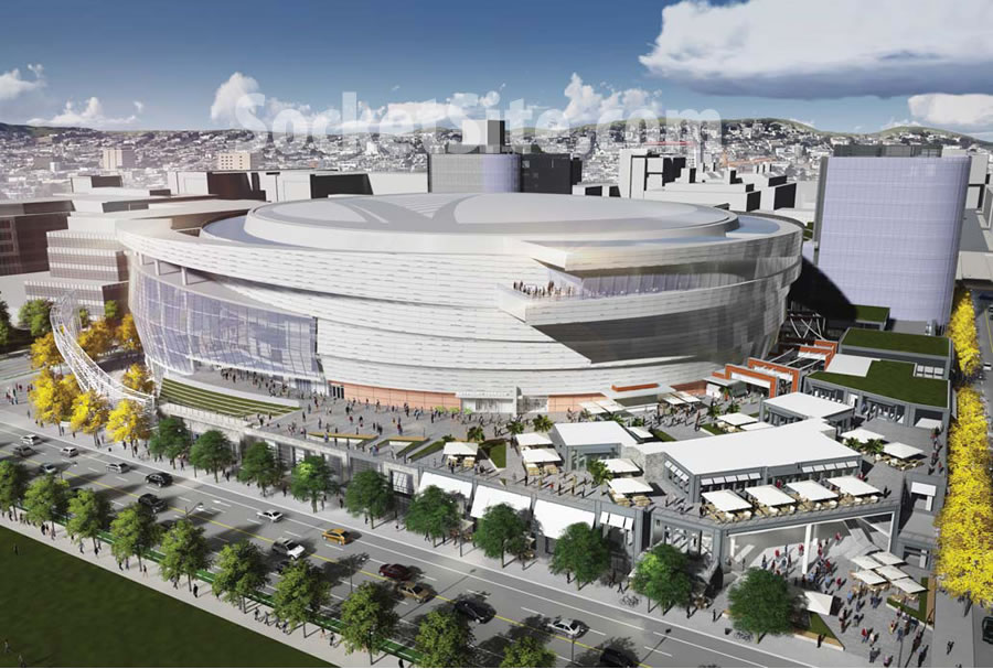 Warriors Mission Bay Arena Rendering: Revised Bay Terrace