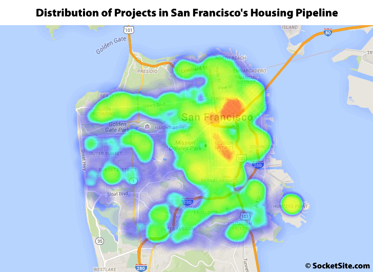 Distribution of Developments in San Francisco's Housing Pipeline
