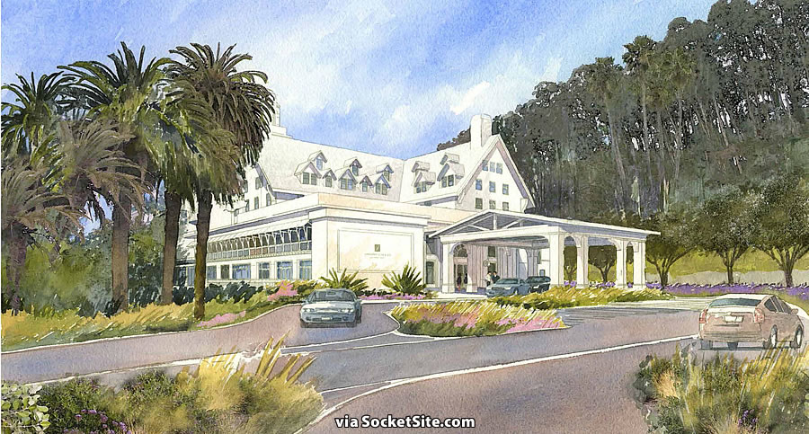Claremont Hotel Expansion Rendering: Port cochere