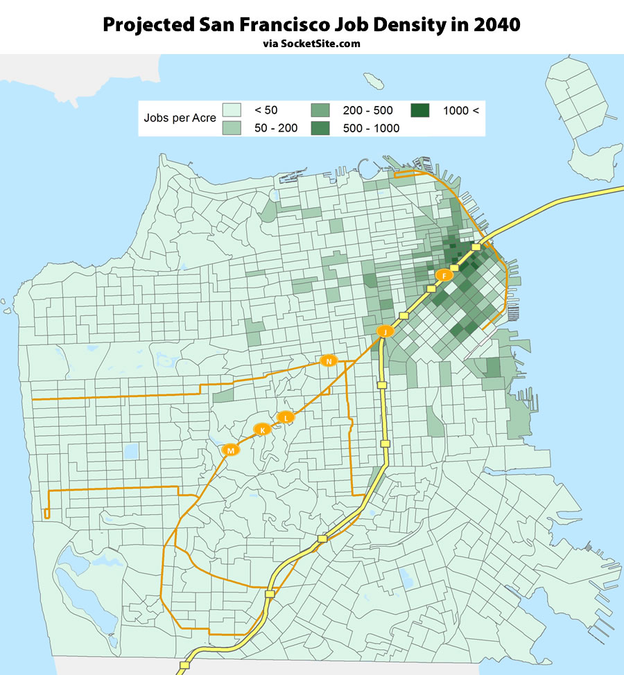 Projected San Francisco Job Density circa 2040
