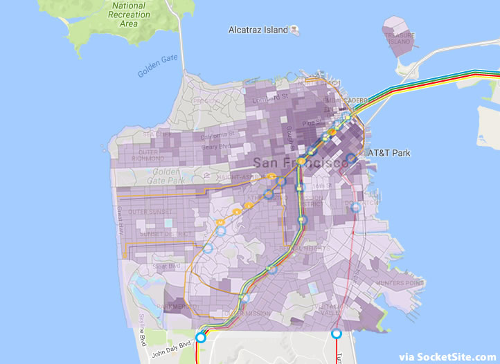 San Francisco's Projected Population Density and Rail Mashup