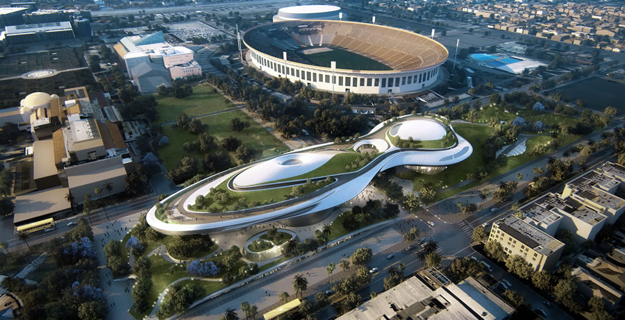 Lucas Museum of Narrative Art Rendering: Exposition Park