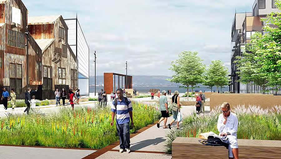 Pier 70 Rendering - Open Space - Slipway Commons