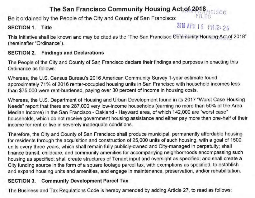 Initiative to Establish a Community Housing Program (and Tax) in SF