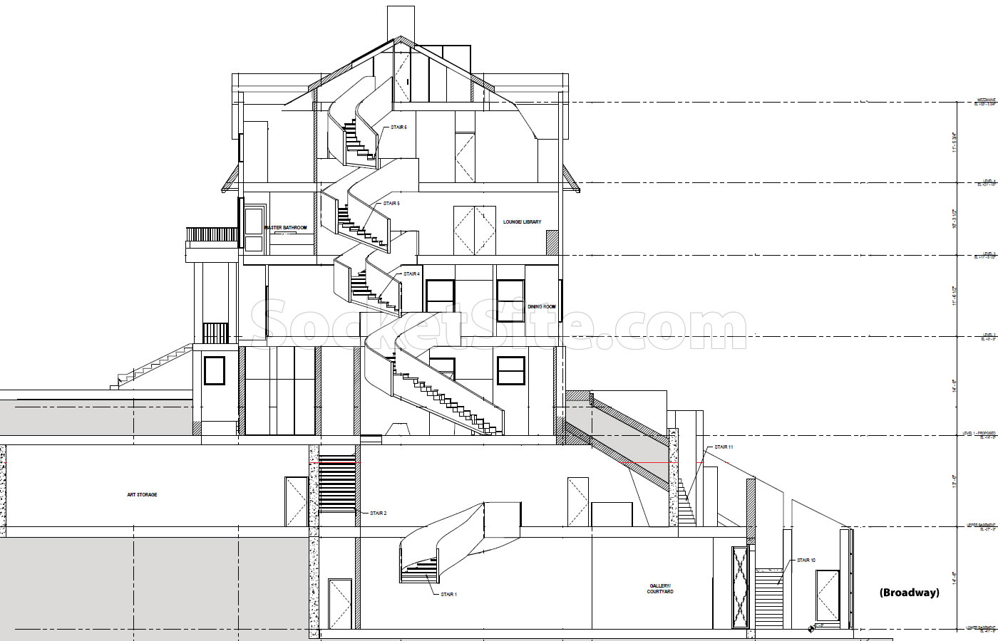 The redeveloped mansion would measure a little over 18000 square feet with an elevator running from its lowest level to the homes remodeled fourth floor